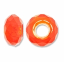 MIOVI� Glass Crystal Cut Large Hole Beads no Grommets 14x8mm Orange (6PK)