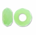 MIOVI™ Glass Crystal Cut Large Hole Beads no Grommets 14x8mm Milky Peridot (6PK)