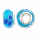 MIOVI� Lampwork Large Hole Beads w/SP Grommets 14x9mm Aqua/Blue Floral Design (6PK)