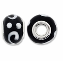 MIOVI� Lampwork Large Hole Beads w/SP Grommets 14x9mm Black/White Design (6PK)
