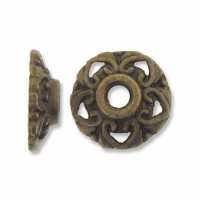 Antiqued Brass 10mm Filigree Hearts Bead Caps (20PK)