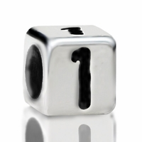 Metallized Plastic Number 1 Bead 7mm