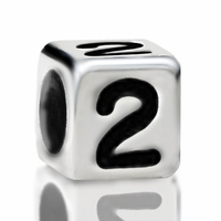 Metallized Plastic Number 2 Bead 7mm