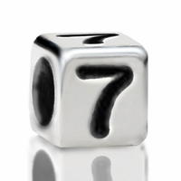 Metallized Plastic Number 7 Bead 7mm