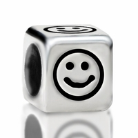 Metallized Plastic Smiley Face Bead 7mm