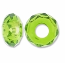 MIOVI™ Glass Crystal Cut Large Hole Beads no Grommets 14x8mm Olivine (6PK)