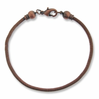 Antiqued Copper Brass 7.5 inch Bracelet with screw off 6mm Ball End Cap
