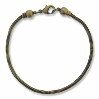 Antiqued Brass 7.5 inch Bracelet with screw off 6mm Ball End Cap