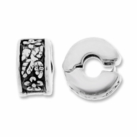 MIOVI™ Silver Antiqued Floral 10mm Drum Bead Stopper (1PC)