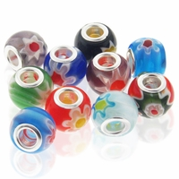 MIOVI™ Millefiori Large Hole Beads w/Silver Plated Grommets 14x12mm Mixed Colors(10PK)