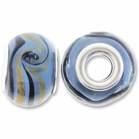 MIOVI™ Lampwork Large Hole Beads w/SP Grommets 14x9mm Blue/Black/Gold Swirl Design (6PK)