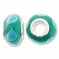 MIOVI™ Lampwork Large Hole Beads w/SP Grommets 14x9mm Green/Blue Leaf Design (6PK)