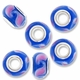 MIOVI™ Lampwork Large Hole Beads w/SP Grommets 14x9mm Blue/Pink Leaf Design (6PK)
