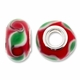 MIOVI™ Lampwork Large Hole Beads w/SP Grommets 14x9mm Red/Green Leaf Design (6PK)