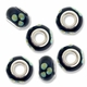 MIOVI™ Lampwork Large Hole Beads w/SP Grommets 14x9mm Black/Teal Floral Design (6PK)