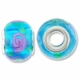 MIOVI™ Lampwork Large Hole Beads w/SP Grommets 14x9mm Aqua/Pink Floral Design (6PK)