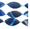 45x25mm Blue Lace Agate Flat Oval Beads 14 inch strand
