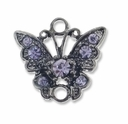Gun Metal 17mm Tanzanite Rhinestone Butterfly Link (1PC)