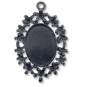 Antiqued Gun Metal 45x34mm  Floral Oval Pendant Cabochon Settings (1PC)