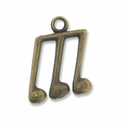 Antiqued Brass Musical Note 17mm Charm (1PC)