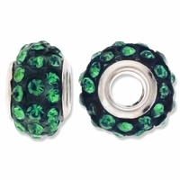 MIOVI™ Rhinestone Beads 15x9mm Large Hole Emerald Rhinestone Dark Emerald Resin Rondelles (1PC)