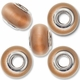 MIOVI™ Cats Eye Large Hole Beads w/Silver Plated Grommets 14x9mm Lt. Brown (5PK)