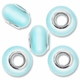 MIOVI™ Cats Eye Large Hole Beads w/Silver Plated Grommets 14x9mm Turquoise (5PK)