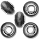 MIOVI™ Cats Eye Large Hole Beads w/Silver Plated Grommets 14x9mm Dk Grey (5PK)