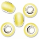 MIOVI™ Cats Eye Large Hole Beads w/Silver Plated Grommets 14x9mm Yellow (5PK)