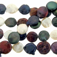 Multi-Color 13-14mm Coin Freshwater Pearl Bead Strand