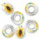 MIOVI™ Porcelain Large Hole Beads w/SP Grommets 14x9mm Sunflower White Porcelain Rondelle Large Hole Beads (6PK)