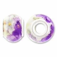 MIOVI™ Porcelain Large Hole Beads w/SP Grommets 14x9mm Purple Iris White Porcelain Rondelle Large Hole Beads (6PK)