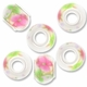 MIOVI™ Porcelain Large Hole Beads w/SP Grommets 14x9mm Rose Garden Porcelain Rondelle Large Hole Beads (6PK)