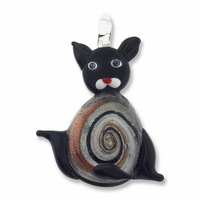 Murano Lampwork Glass 55mm Cat Pendant (1PC)