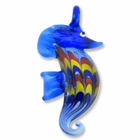 Murano Lampwork Glass 60mm Blue Sea Horse Pendant (1PC)