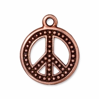 Antique Copper 22mm Beaded Peace Sign Charm
