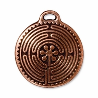 Antique Copper 26mm Labyrinth Pendant