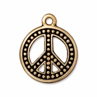 Antique Gold 22mm Beaded Peace Sign Charm