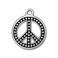Antique Silver 22mm Beaded Peace Sign Charm