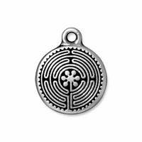 Antique Silver 20mm Labyrinth Charm