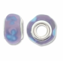 MIOVI ™ Lampwork Large Hole Beads w/SP Grommets 14x9mm Lt. Purple/Blue Floral Design (6PK)