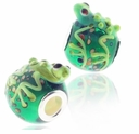 MIOVI™ Lampwork Large Hole Beads w/SP Grommets 18x14mm Green Frog Design (1PC)