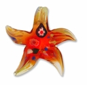 Murano Lampwork Glass 51mm Red/Yellow  Star Pendant (1PC)