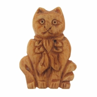 Hand Carved Bone 40mm Cat with Bow Bead (1PC)