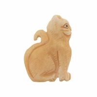 Hand Carved Bone 30mm Cat Sitting Bead (1PC)