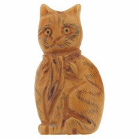 Hand Carved Bone 43mm Striped Cat Bead (1PC)