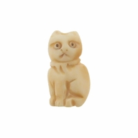 Hand Carved Bone 22mm Kitten Bead (1PC)
