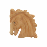 Beads Carved Bone 25mm Mustang Horse Head Bead 1pc