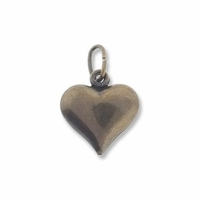 Antiqued Brass 12mm Puffed Heart Charm (1PC)