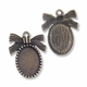 Antiqued Brass  Bow Cabochon 29mm Charm (1PC)